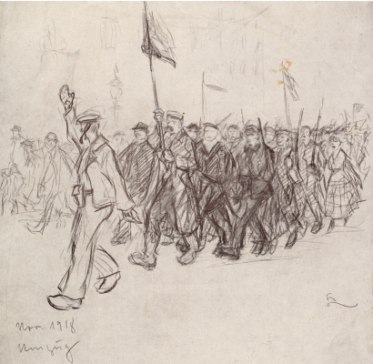 Hans Leip, Demonstrationszug in Hamburg, Zeichnung, November 1918, Sammlung MHG