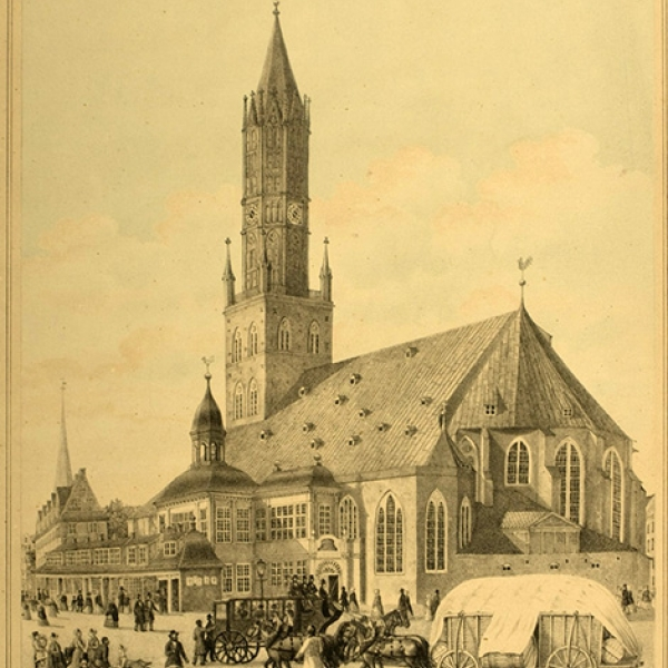 Peter Suhr, the St. Jakobikirche in Hamburg, 1849, lithograph