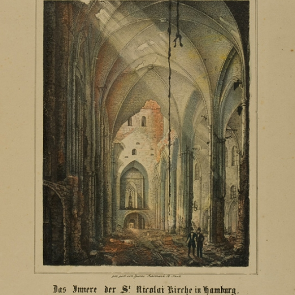 Lithographische Anstalt G. Führmann, the interior of the St. Nikolaikirche in Hamburg after the great fire of 1842, lithograph