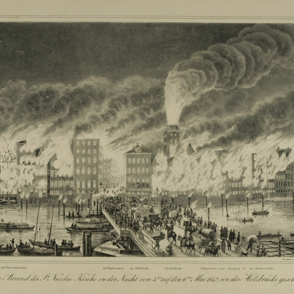 Peter Suhr, the fire of St. Nicholas Church in the night from 5th to 6th May 1842, lithograph