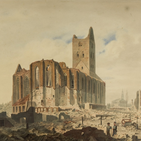 Adolph Besemann, ruin of St. Petrikirche after the fire in Hamburg in 1842, watercolour