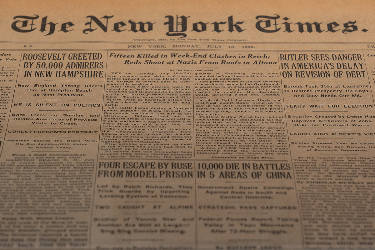 The New York Times, 18.07.1932, SHMH/Altonaer Museum