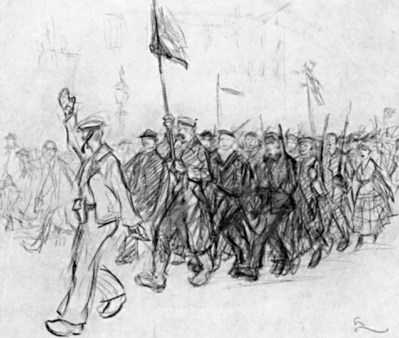 Demonstration in Hamburg, Zeichnung von Hans Leip, 1918